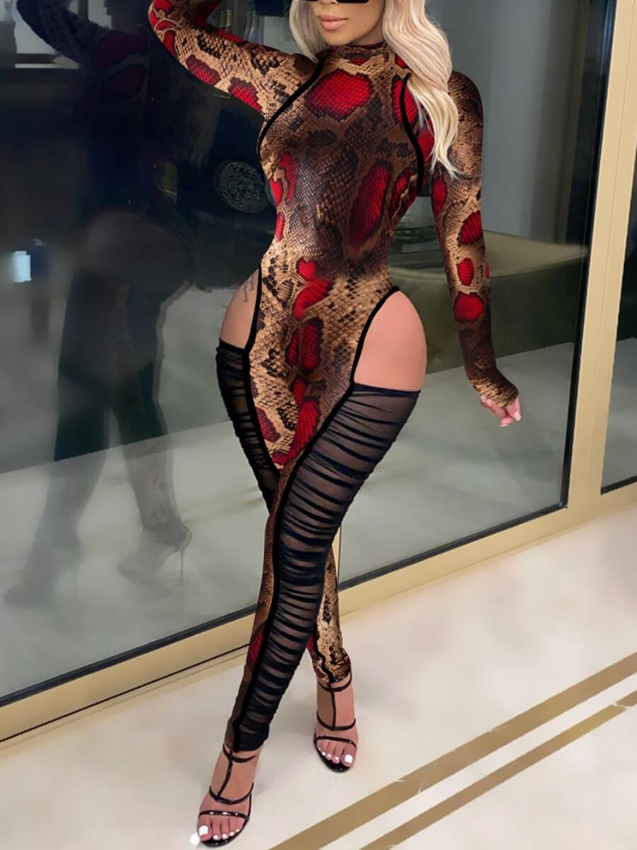 Lovely Sexy Animal Print Mesh Patchwork Red One-pi