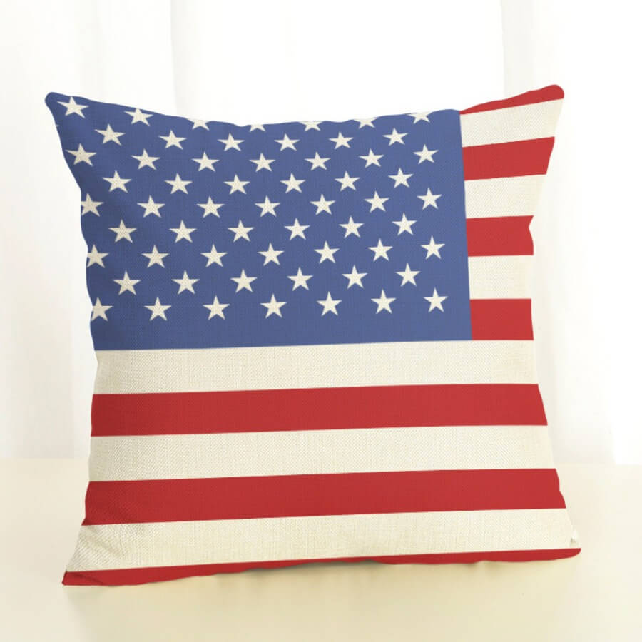 Lovely American Flag Print Red Decorative Pillow C