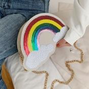 Lovely Chic Rainbow Beige Crossbody Bag