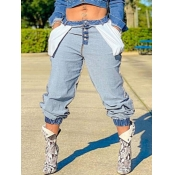 Lovely Leisure Mid Waist Button Design Blue Jeans