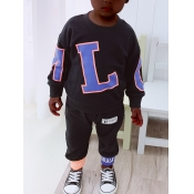 Lovely Sportswear O Neck Letter Print Black Boy Tw