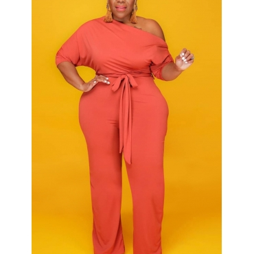 Lovely Casual Drawstring Croci Plus Size One-piece