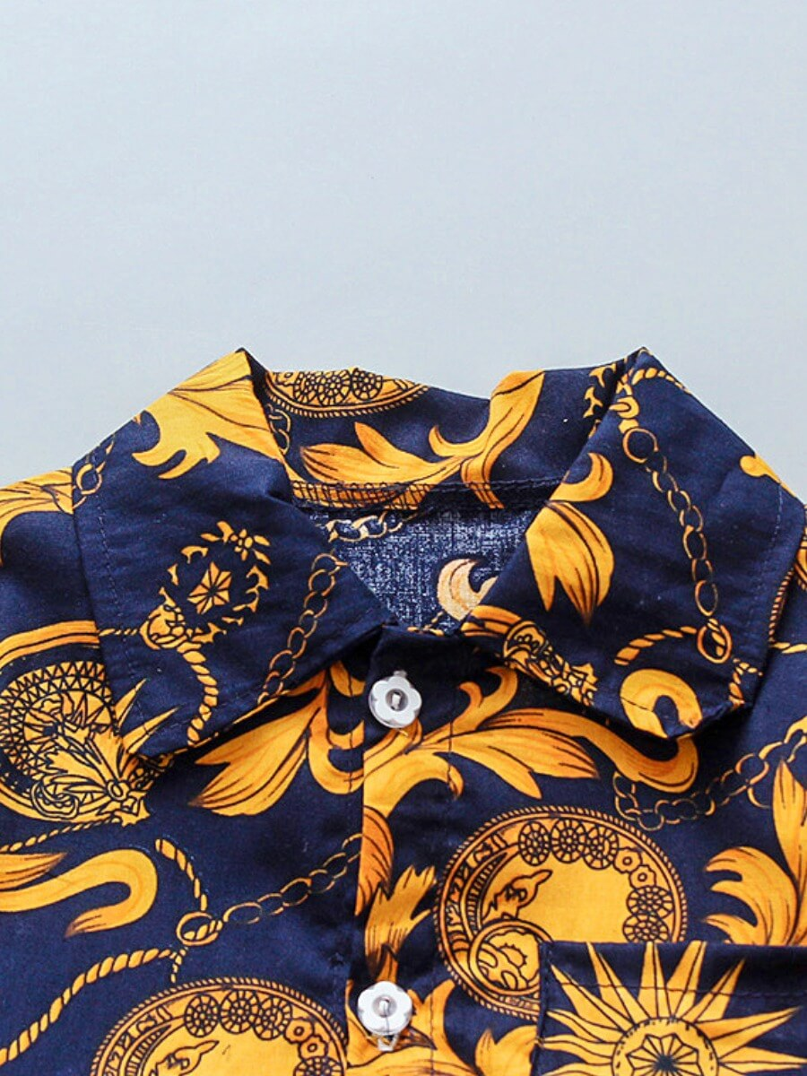 Lovely Boy Bohemian Short Sleeve Print Button Navy