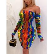 Lovely Sweet Off The Shoulder Animal Print Patchwork Multicolor Knee Length Dress