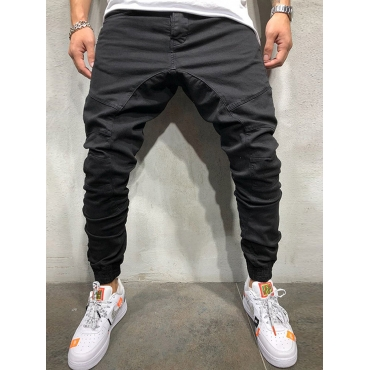 Lovely Casual Mid Waist Fold Design Black Men Pant