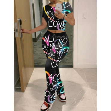 Lovely Casual O Neck Letter Heart-shaped Print Bla