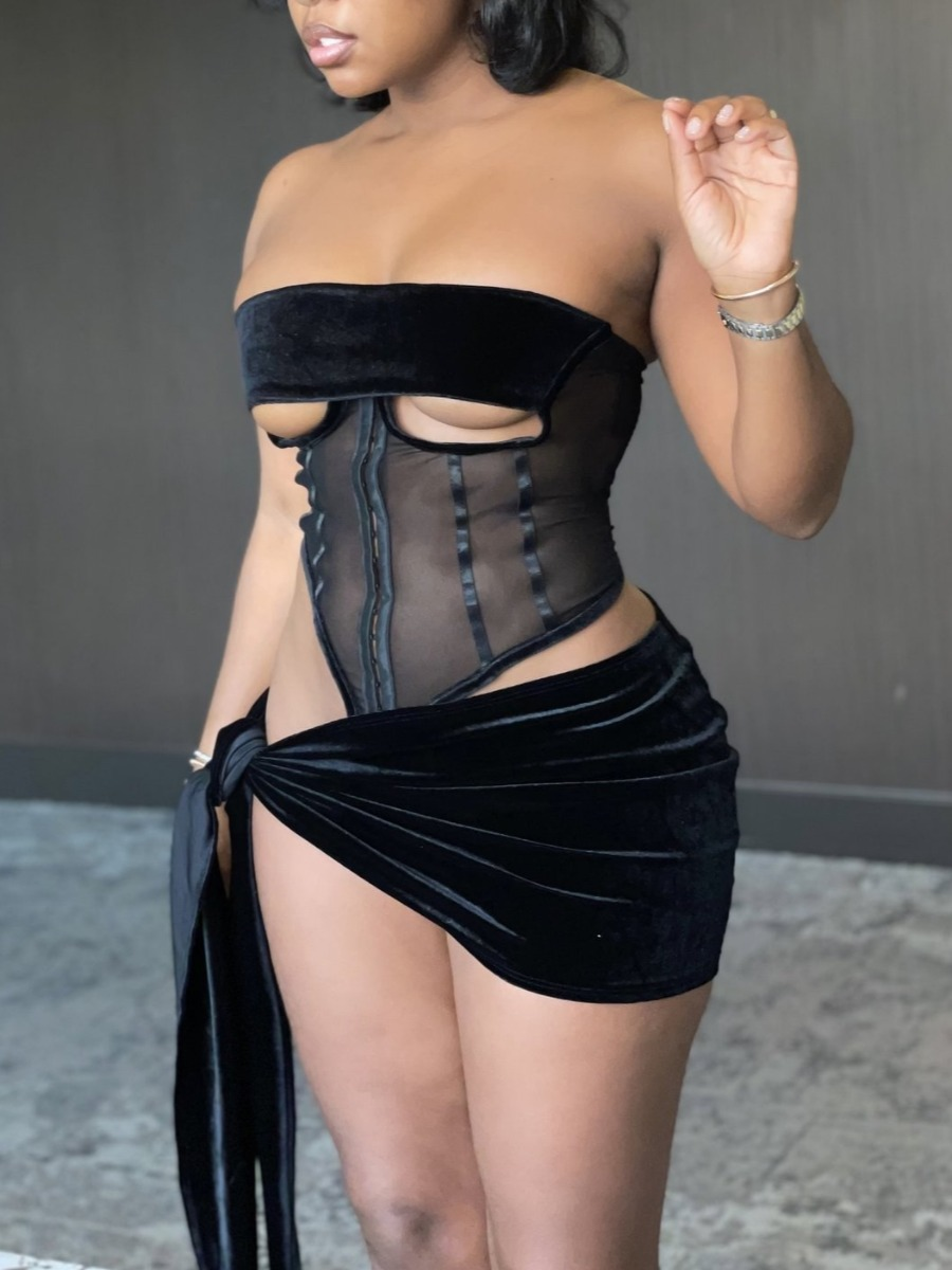 Lovely Sexy Off The Shoulder See-through Bandage D