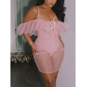 Lovely Sexy Off The Shoulder See-through Pink Mini Dress