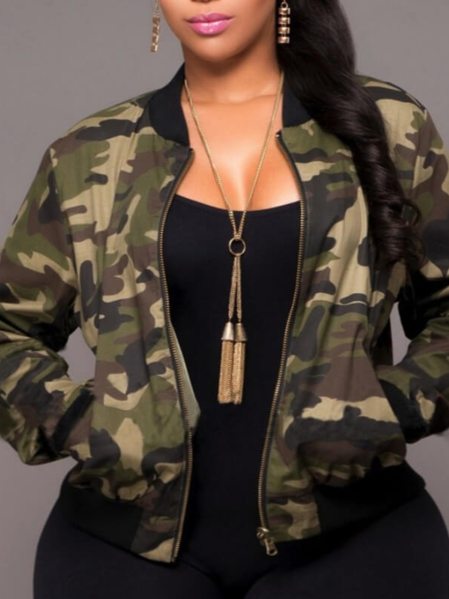 Lovely Plus Size Stylish Camo Print Jacket